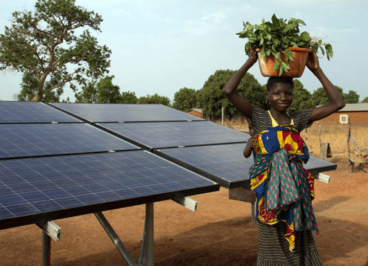 African business woman enjoying solar power